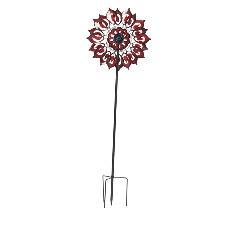 Wind and Weather Solar LED Lotus Wind Spinner