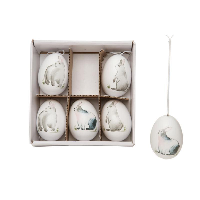 Woodland Rabbit Eggs Gift Box Set of 6 Ornament
